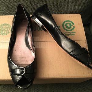 Joan & David Black Patent Peep Toe Flat